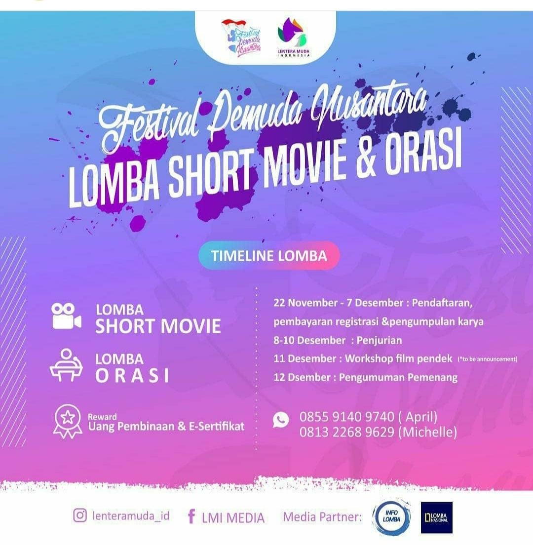 Festival Pemuda Nusantara: Lomba Short Movie dan Orasi